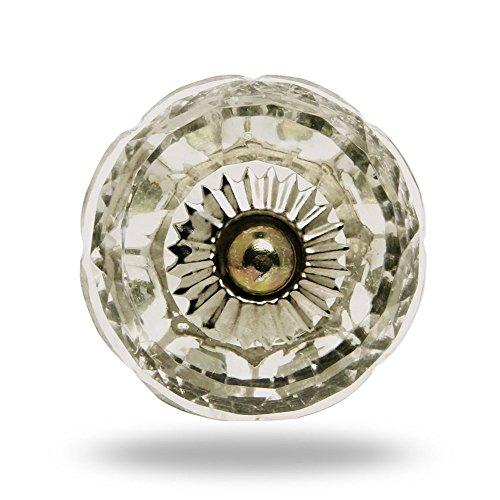 Pomello rotondo, in vetro, finiture cromate, Porta manopola,tira maniglia per Cassetti Armadio da Trinca-Ferro