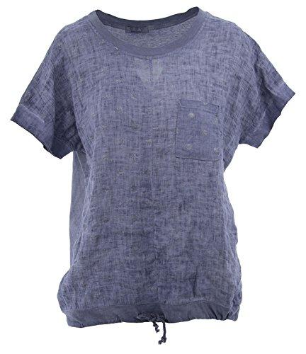 T-Shirt Frauen-T-Shirt Tupfen-Gewebe Leinen Short Sleeve Crew Neck with Strings Blue One Size