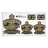 Set di 5Royal Enfield Made like a pistola e Regno Unito bandiere nero oro laminato di alta qualità decalcomanie adesivi