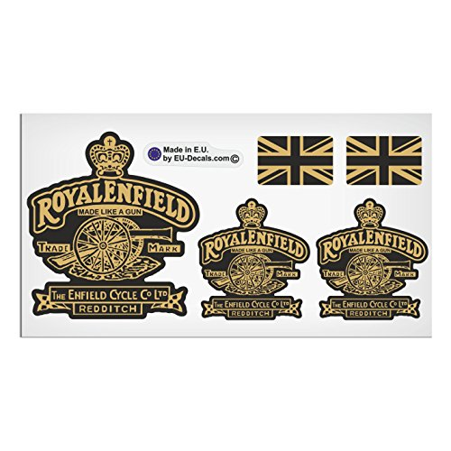 Set di 5 Royal Enfield Made like a pistola e Regno Unito bandiere nero oro laminato di alta qualità decalcomanie adesivi