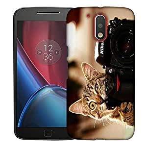 Snoogg Cat And Camera Designer Protective Back Case Cover For MOTOROLA G4 / G4 PLUS