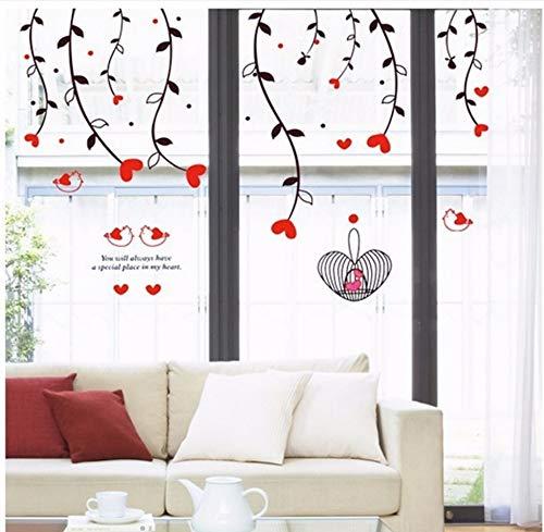 ängende Rote Liebe Herz Abnehmbare Wandaufkleber Wohnkultur Wandkunst Liebe Hochzeit Dekoration Mittelstücke Familie Abziehbilder ()