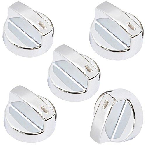 spares2go Temperatur Herd Kontrollknopf Schalter für FLAVEL Milano Ofen Herd (Silber, 5Stück) -