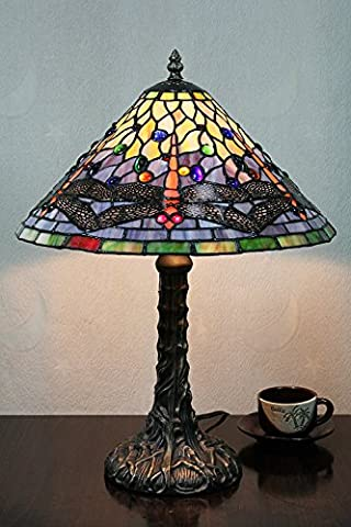 Carl Artbay 12-Inch Vintage Pastoral Dragonfly Stained Glass Tiffany Table Lamp Bedroom Lamp Bedside Lamp