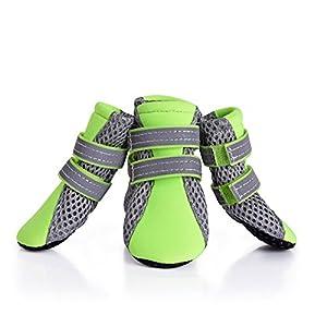 Petacc Chaussure pour Chien Bottes pour Chien Respirantes et Flexible Pour Petit Chien Vert Pomme