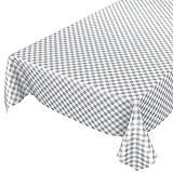 ANRO Wachstuchtischdecke Wachstuch Wachstischdecke Tischdecke Wachstuchdecke Karo Kariert Grau 180 x 140cm -