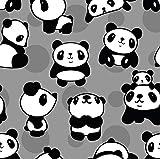 0,5m Jersey Panda grau 5% Elasthan 95% Baumwolle Meterware