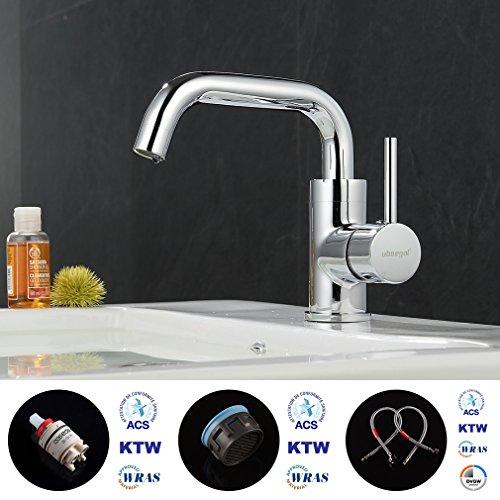 ubeegol 360° Drehbar Wasserhahn Bad Waschtischarmatur Waschbecken Armatur Chrom Einhebelmischer Mischbatterie Badezimmer Küche Spülbecken Küchenarmatur - 4