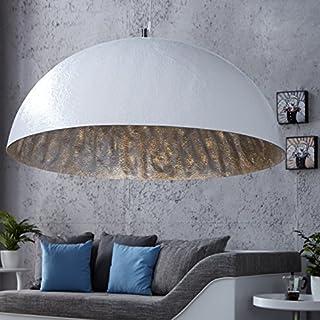 XXL Hängeleuchte Gleam 70cm Ø Silber/Weiss Küchen u. Esszimmerleuchte - Designer Hängelampe von ambientica -