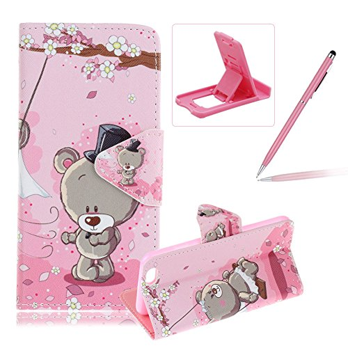 Price comparison product image For iPhone 6S Plus Leather Case, For iPhone 6 Plus Flip Folder Card Holders Money Pouch Case, Herzzer Book Style Premium [Flower Bear Pattern] Stand Function Protective Cases Covers PU Leather Wallet Case Cover Pouch [Magnetic Closure] with Card Slots For iPhone 6 Plus / 6S Plus 5.5 inch + 1 x Pink Cellphone Kickstand + 1 x Pink Stylus Pen