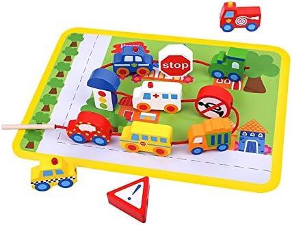 Tooky Toy - TKB512 - jouet de de de bois - le fil par jouet - trafic avec des voitures, des autobus et des signes de rue - plaisir garanti - 29 x 21,5 x 1,6 B07656JRRX 6c09ea