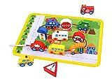 Tooky Toy Fädelspiel aus Holz Straßenverkehr mit Autos, Bussen, Straßenschildern uvm. Spielfeld farbig und perfekt zum Lernen von Motorik und Hand-Auge-Koordination Ihres Kindes - ca. 29 x 21,5 x 1,6