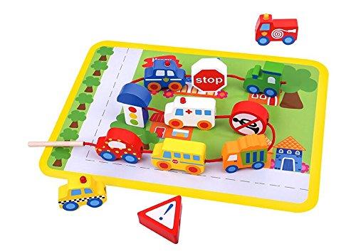 Tooky Toy Fädelspiel aus Holz Straßenverkehr mit Autos, Bussen, Straßenschildern uvm. Spielfeld farbig und perfekt zum Lernen von Motorik und Hand-Auge-Koordination Ihres Kindes - ca. 29 x 21,5 x 1,6 -
