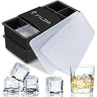 Eiswürfelform 2er Pack Silikon Eiswürfelbehälter mit Deckel, 8-Fach 48mmx48mm Würfel Eiswürfel Form Silikon,BPA Frei Big Size für Bier Cocktails Whisky