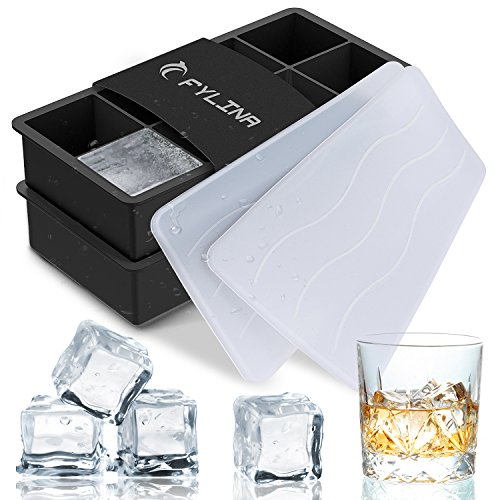 Fylina cubetti di ghiaccio, 2 pezzi, in silicone, cubetti di ghiaccio con coperchio, Ice Cube Molds & 8 cavità Ice Maker vassoio per whisky corpo cibo bevande cocktail