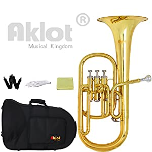 Aklot Intermediate Eb Alto Horn Gold Silver Plated Mouthpiece Stainless Steel Piston with Case for Musical Education