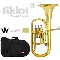 Aklot Intermédiaire Eb Saxhorns Alto Horn Or Embouchure plaqué argent Acier inoxydable Piston avec étui pour l'éducation musicale