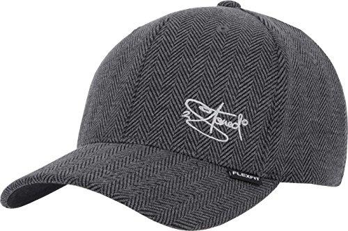 2Stoned Flexfit Cap Heringbone in Schwarz/Heather Grey mit Stick, Größe S/M (55 cm - 58 cm), Basecap für Herren