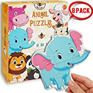 Beestech Beginner Puzzles for 2, 3 Years Old Toddlers, 8 Pack Wooden Animal Jigsaw Puzzles with Panda, Tiger,