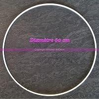 Lealoo® Grand Cercle Métallique Blanc Diam. 60 cm pour Abat-Jour, Anneau Epoxy Blanc Attrape Rêves