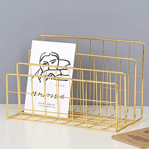 AFDK Rack da 3 scomparti per organizer da tavolo con fascicolatore, portariviste, portariviste, organizzatore multifunzione in metallo per scrivania in ferro, decorazioni per ufficio, oro,Oro