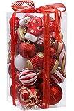 Sortierte, bruchsichere Weihnachtskugel-Verzierungen, Kugeln-Anhängern mit Premium-Geschenkverpackungen, für den Weihnachtsbaum, 50 Stück Art Deco rot