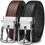 """Men's Belt, Bulliant Genuine Leather Reversible Belt for Men 1.25"""",Size Adjustable byTrim to Fit"""