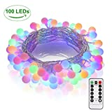 GREEMPIRE Lichterkette 100 LED Bunte Lichterketten Globe 13.3M mit EU Stecker, Lichterkette Kugel mit Fernbedienung Indoor, Licherkette Wasserdicht IP44 Außen für Zimmer Hochzeit [Energieklasse A+++]