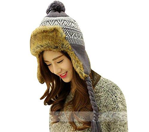 Baymate Unisexo Gorro de Invierno Caliente con Orejeras Aviador Sombrero de Esquí con Borla Gris (56-60CM)