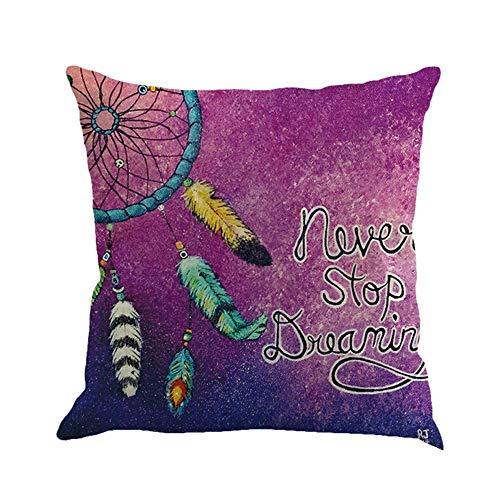 Wangji Duradero Suave Decorativo Funda de Almohada cojín para sofá Dormitorio Coche Fundas de cojín,4PACKS patrón de atrapasueños Color Lino 45 * 45CM