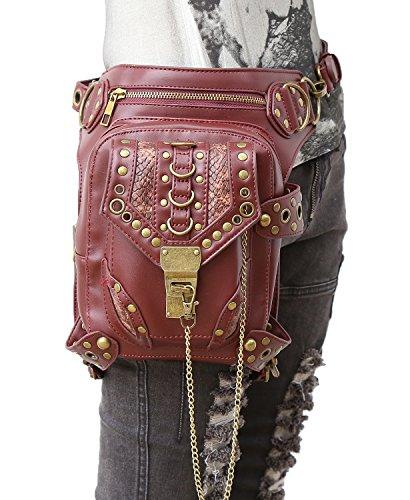 henmerry Rock Vintage gotico Steampunk borsa borsa a tracolla portamonete, donna Uomo, Red Red