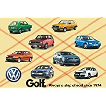Wanddekor - VW Golf Historie - Retro Emailleschild