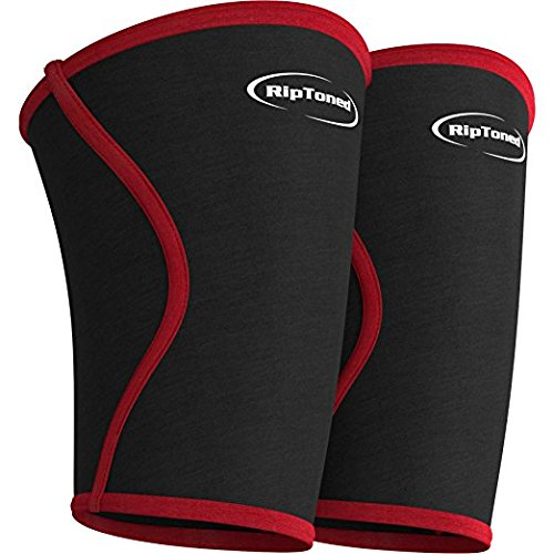 Knee Support Sleeves (PAIR) - Compression for Weightlifting, Powerlifting, Crossfit, Squats, Pain Relief & Running - By Rip Toned - Lifetime Warranty. (Large) Beanie Wells
