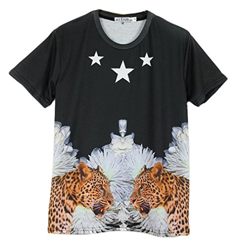 Pretty321 Men Women 3D Leopard Print Creative Hip Hop Graffiti Unisex T-Shirts Amazon