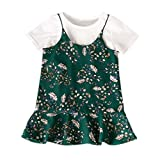 LEXUPE Bekleidung Kleinkind Baby Mädchen Kinder Kleidung Floral T Shirt Tops Lässig Overall Kleid Set