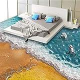 Pbldb Benutzerdefinierte 3D Stereoskopischen Boden Tapete Strand Welle Delphin Moderne Stil Bettwäsche Zimmer Badezimmer Vinyl Wandbild Papiere Wohnkultur-200X140Cm