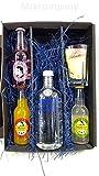 Absolut Vodka Cocktail Set/Geschenkset – Absolut Vodka 70cl (40% Vol) + Thomas Henry Grapefruit Lemonade,Mango Lemonade & Cherry Blossom Tonic, je 200ml + Shakers Glas geeicht 4cl