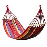 Fangwei Hängematte Gartenhängematte Outdoor Liegefläche 190x100 / 190x150 Belastbarkeit 200kg / 280kg (Rote Streifen mit Holzstab, 190x100cm)