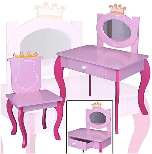 SCHMINKTISCH #120 Kinderschminktisch Kindertisch PINK Prinzessin Sitzgruppe Tisch Holz habeig®