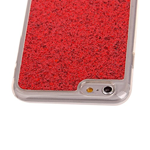 Cuitan TPU Glitter Housse Case pour Apple iPhone 6 plus / 6s plus (5,5 Inch), Bling Shiny Retour Housse Back Cover Protecteur Etui Coque Cover Shell pour iPhone 6 plus / 6s plus (5,5 Inch) - Argent Rouge