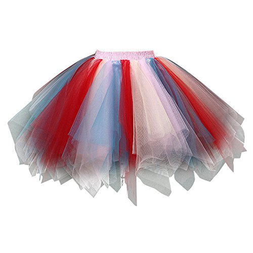 Yvelands Damen Tüllrock Tutu Tanzenrock Hochwertiger gefalteter Gaze färbt kurzen Rock Erwachsene Rock Abendkleid