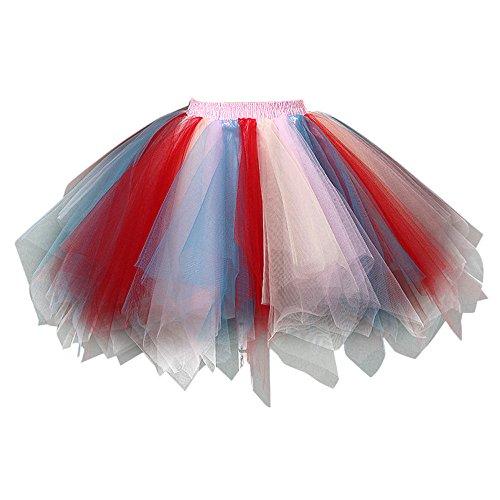 Xmiral Tüllrock Zweifarbig, Bunt Tütü Tutu Petticoat Damen Kurze Rock Unterrock(F)
