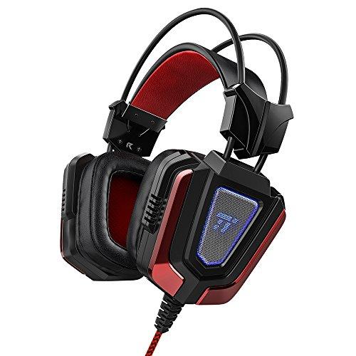 TaoTronics Gaming Headset Gaming Kopfhörer mit Mikrofon und LED-Beleuchtung für Laptop, Computer, PS4, Xbox One, PSP und Smartphone 50mm Treiber und 3.5mm Adapter inklusive