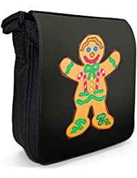 Smiling Gingerbread Man With Icing & Buttons Decoration Small Black Canvas Shoulder Bag / Handbag