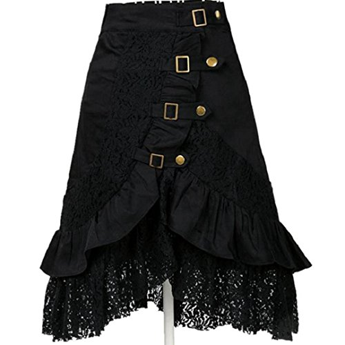Zarupeng Damen Schwarz Punk Rock, Frauen Steampunk Party Club Spitzenrock Retro Hohe Taille...