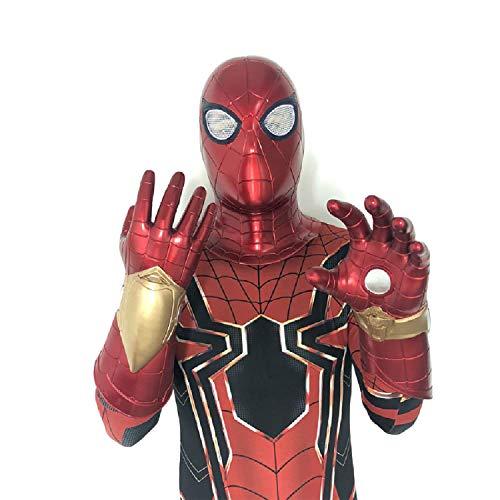 QWEASZER Spider-Man-Maske Leuchtende Infrarot-Handschuhe, Peter Parker Rote Spiderman-Maske Kopfbedeckung Marvel Avengers PVC-Vollmaske Halloween Movie Cosplay Kostüm Requisiten,A-OneSize (Peter Parker Spider Mann Kostüm)