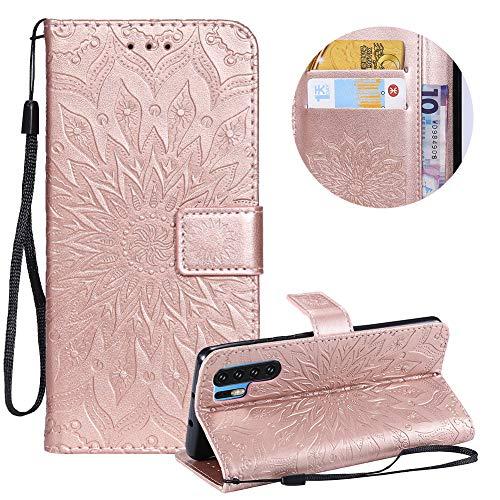 Moiky Or Rose Portefeuille Coque pour Huawei P30 Pro,Corde Étui Housse de Protection pour Huawei P30 Pro, élégant Classique Mandala Tournesol Fleur Motif Clapet PU Cuir Magnétique Coque