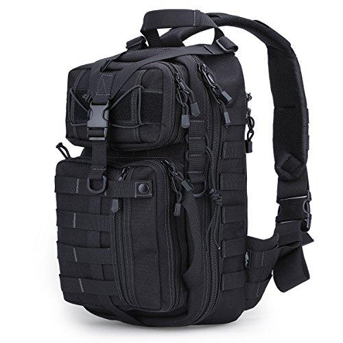 Pflicht Der Brust (Free Soldier Taktischer Crossbody-Rucksack, einzelner Schultergurt, für Wandern / Camping / Reisen / Militär Small schwarz)
