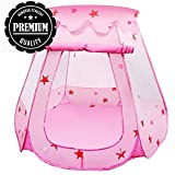 Tech Traders ® Princess Pop Up Playhouse, Play Tent , Play Tent Castle Foldable Popup Balls House for Baby Toddler Girls (Pink, 47 * 35 Inch)