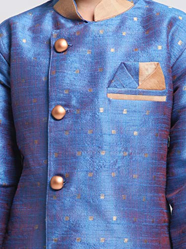 JBN Creation Blue Cotton Silk Blend Boys Indo Wstern Style Sherwani Set - (JBNBIW014BUnCDRG) for 13-14 Years